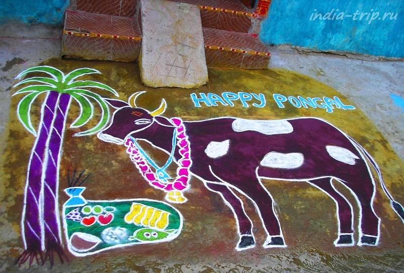 """Рисунок """"Праздник урожая"""" в Индии"""