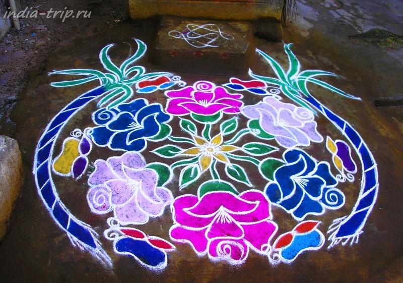 Цветочный орнамент ранголи