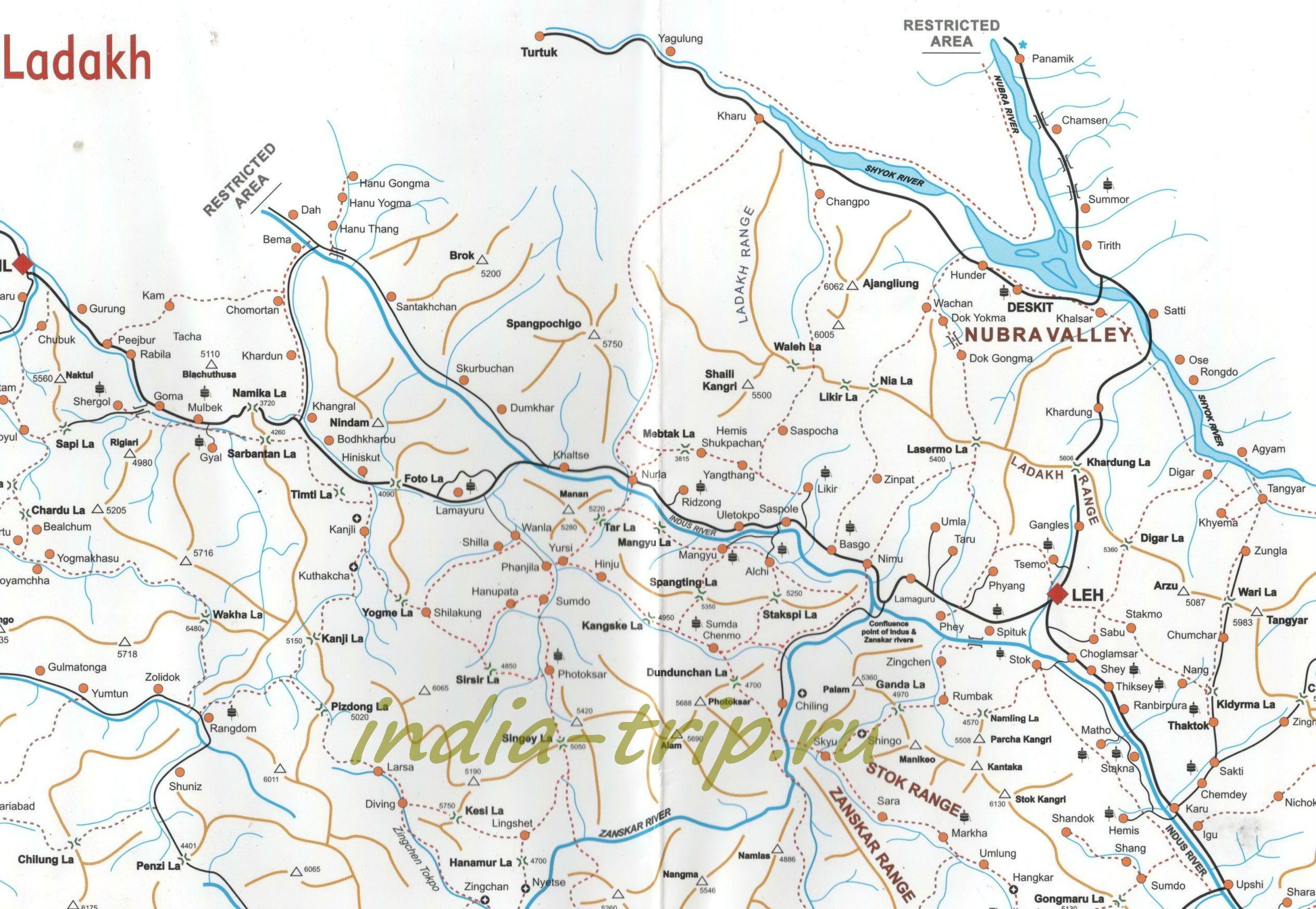 Карта региона Ладакх