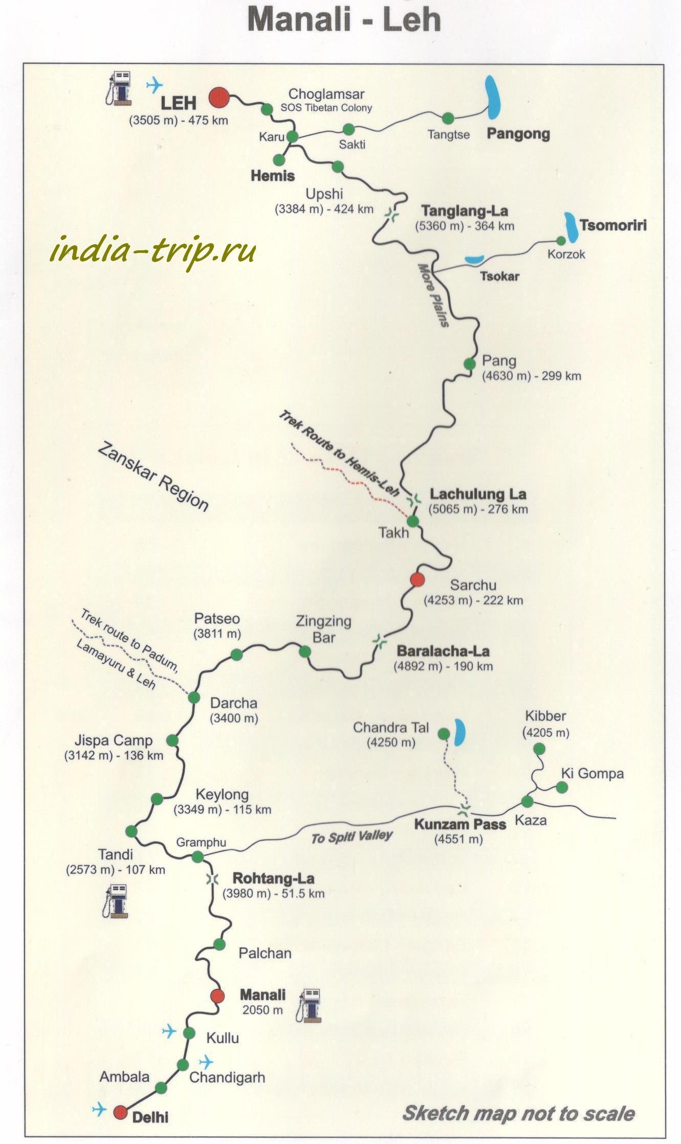 Карта Ле - Манали