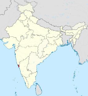 Расположение Гоа на карте Индии