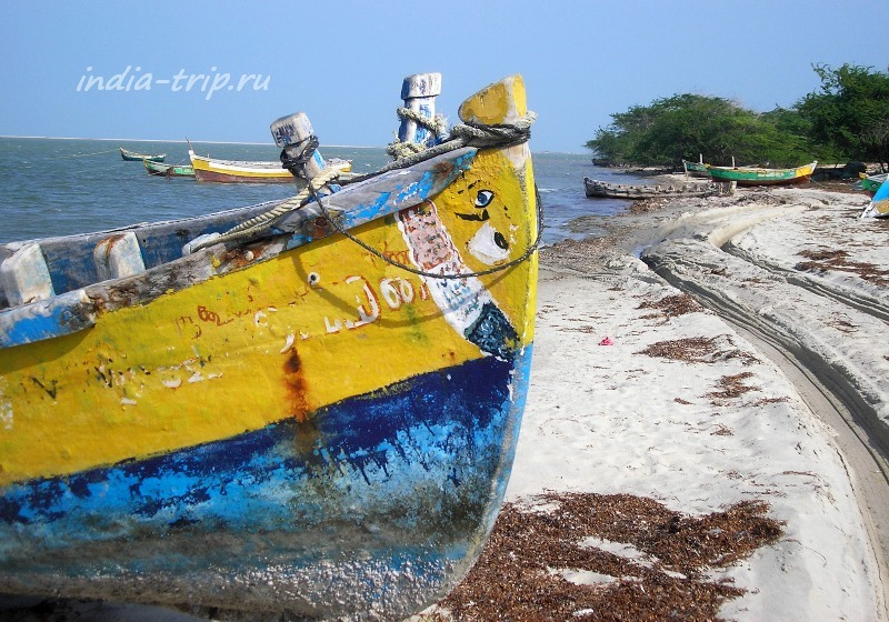 Лодка на берегу океана