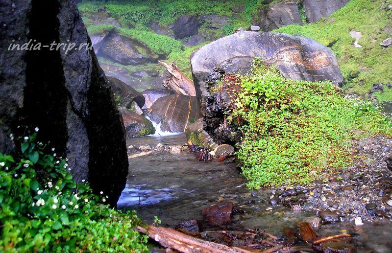 Мокрые большие камни, прозрачная вода и зеленая трава