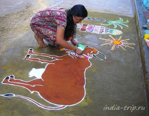 Махабалипурам, девушка рисует ранголи с коровой