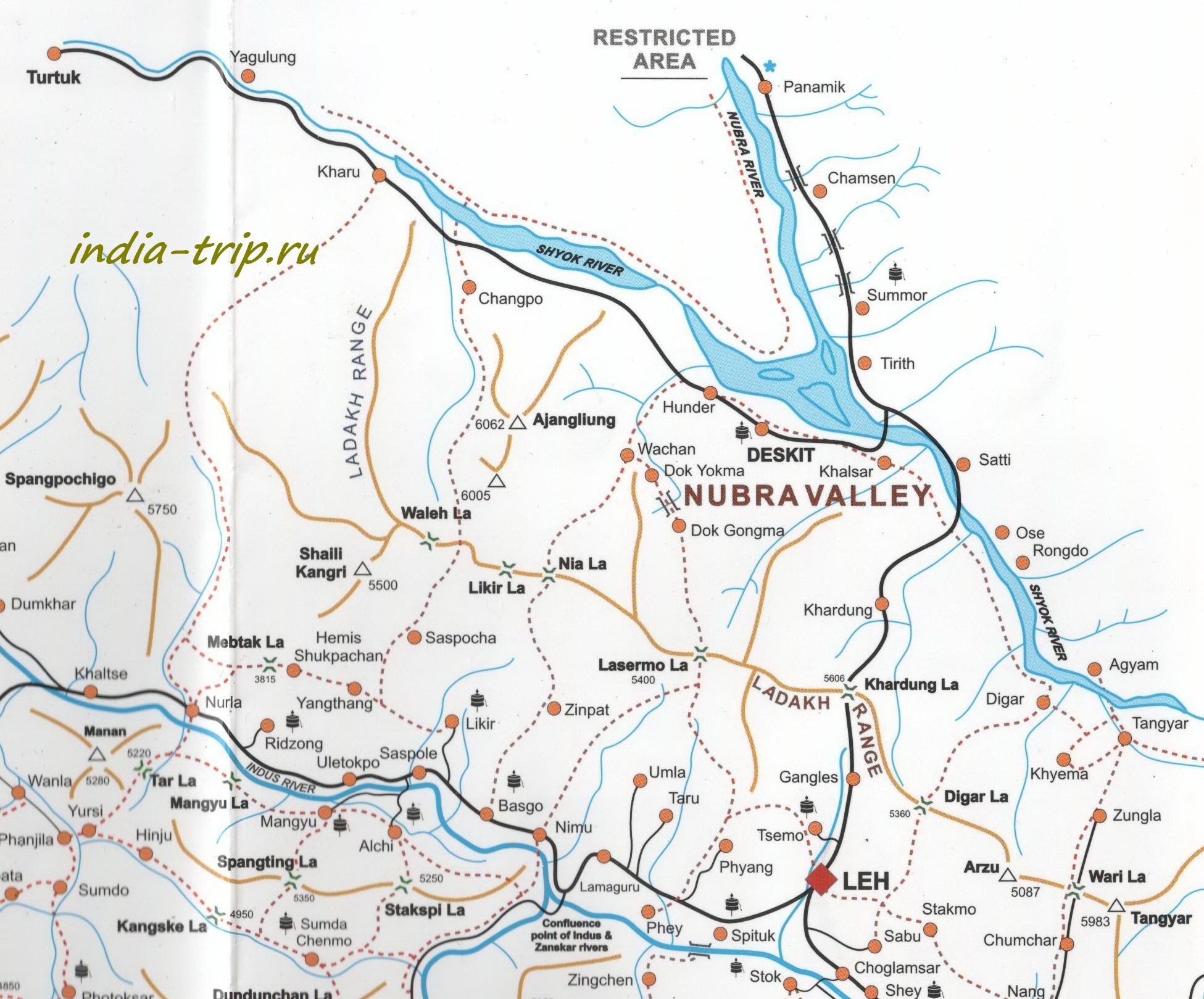 Долина Нубра, карта
