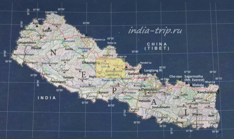 Аннапурна на карте Непала