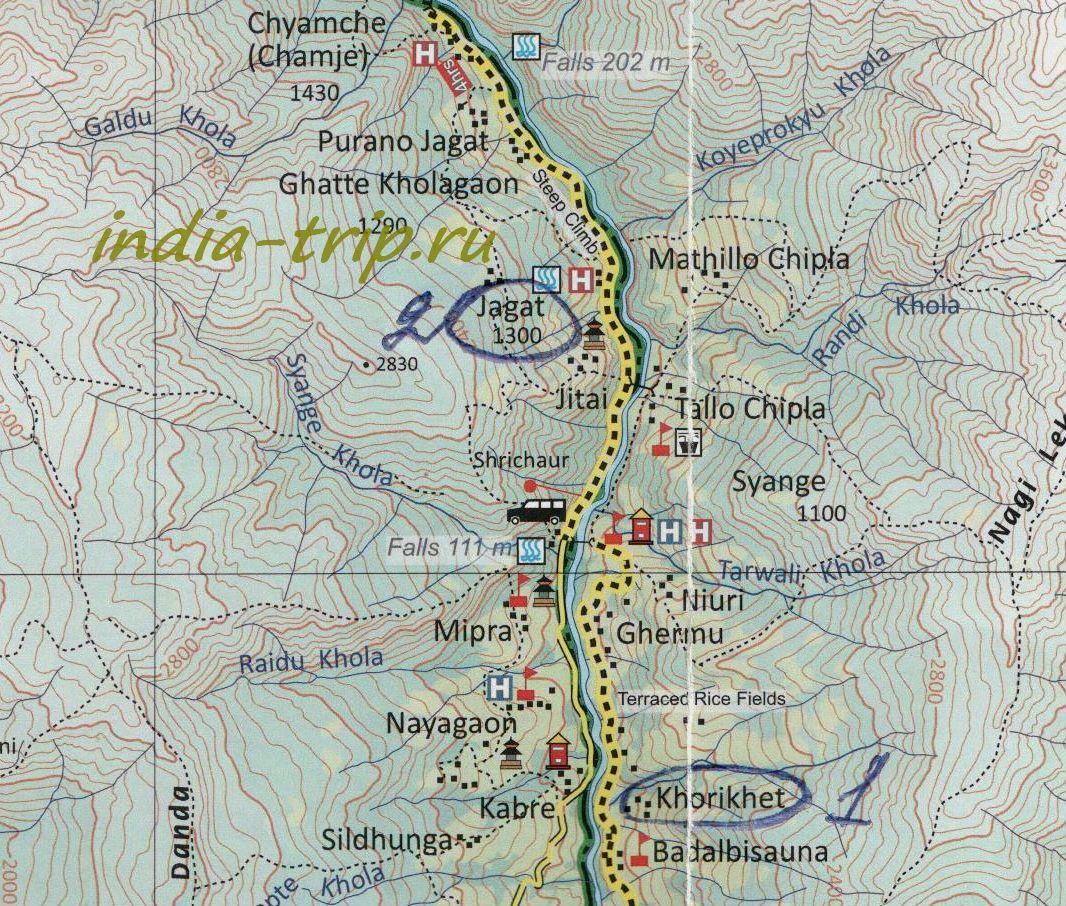 Трек вокруг Аннапурны. Карта