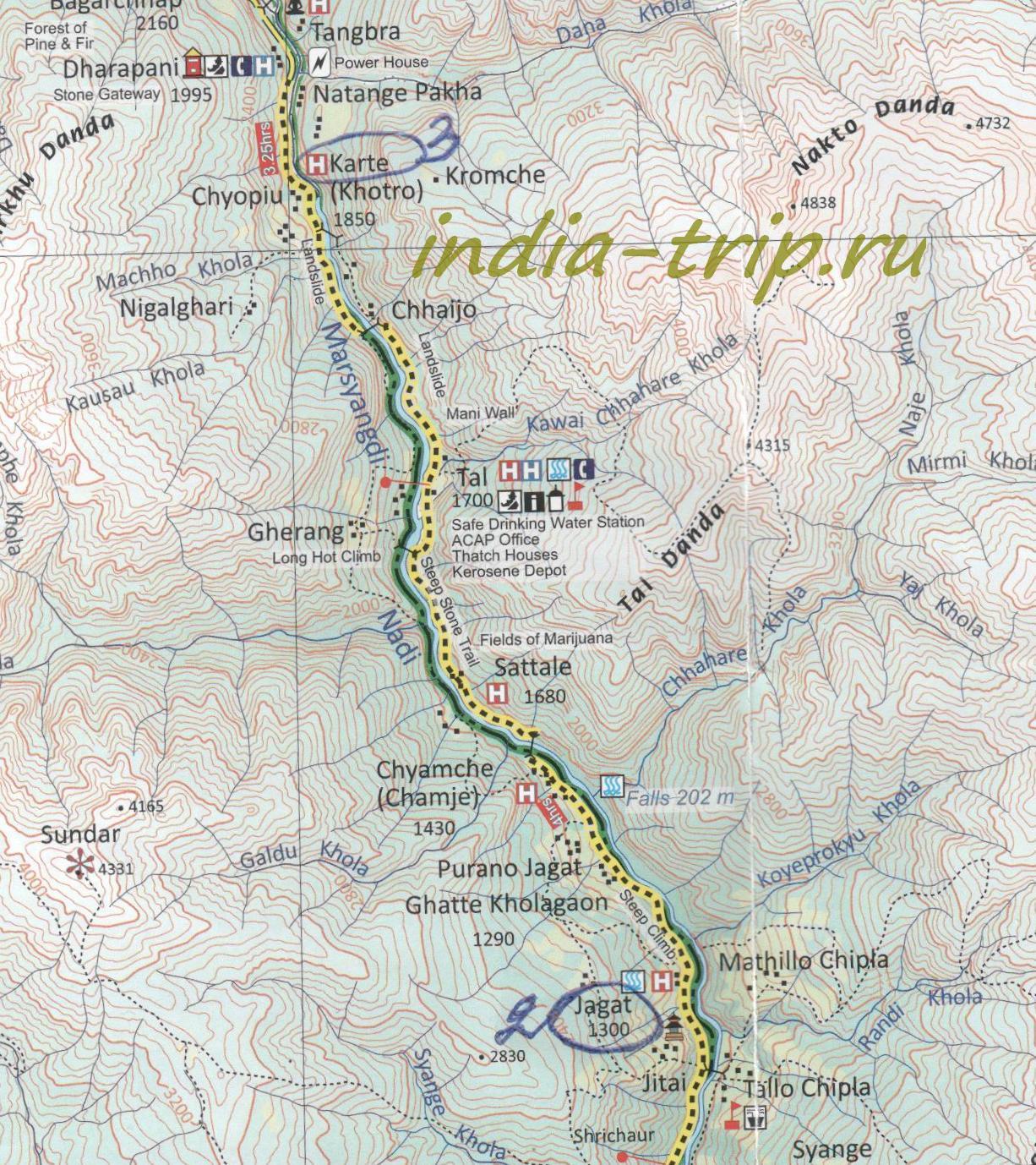 Карта 3-го дня трека вокруг Аннапурны