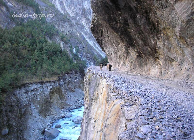 Непал. Тропа в скале