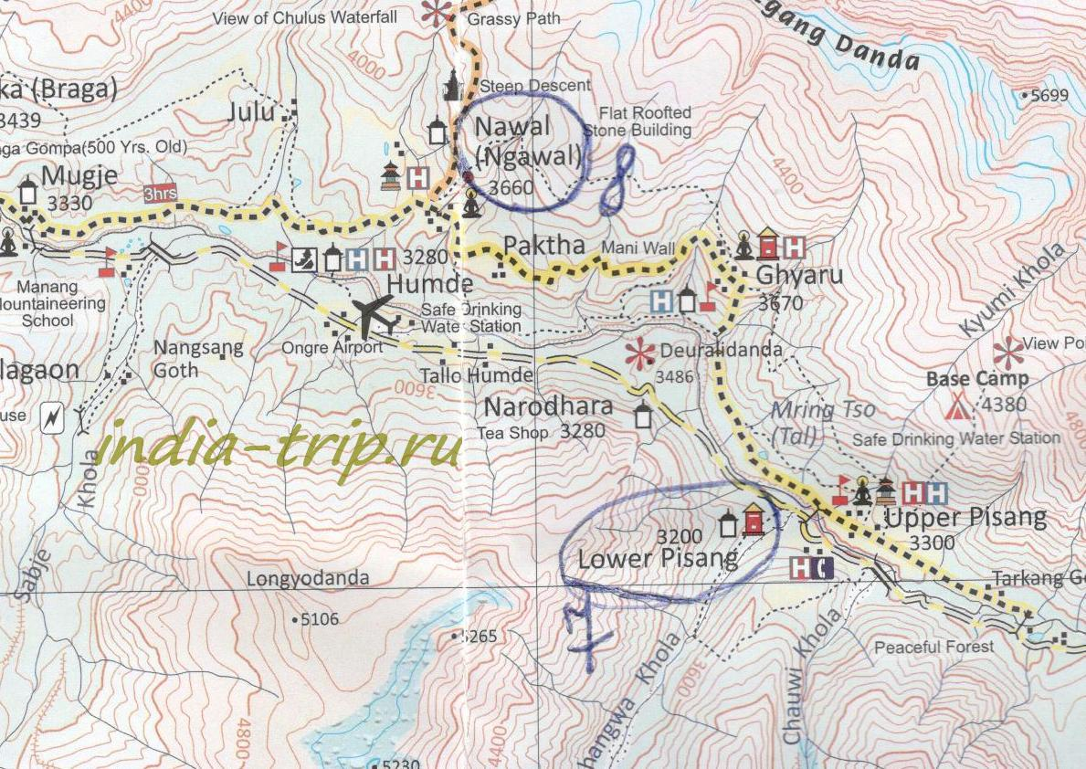 Трек вокруг Аннапурны, карта 8 дня