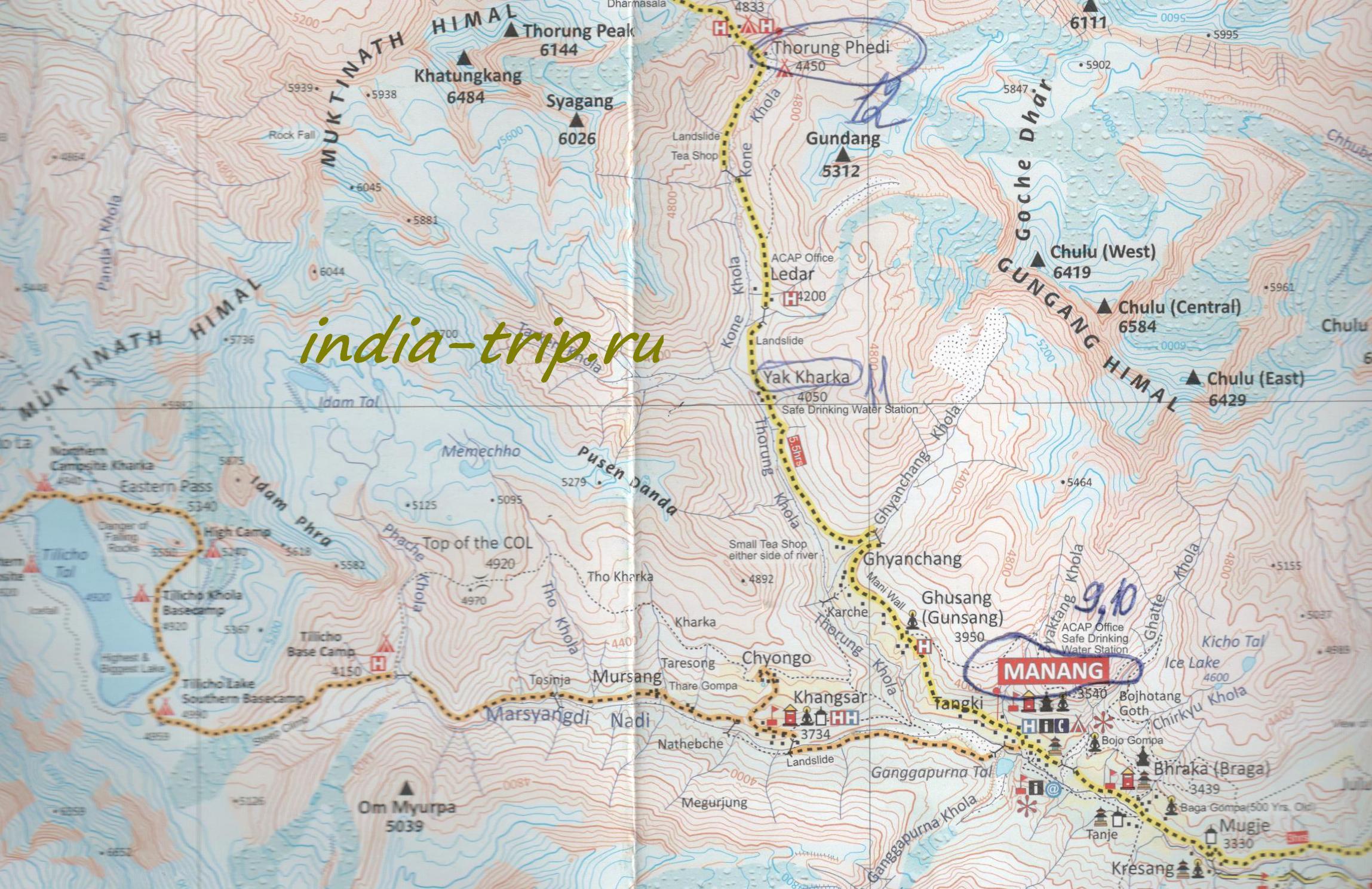 Трек вокруг Аннапурны. Мананг - Як Кхарка (карта)