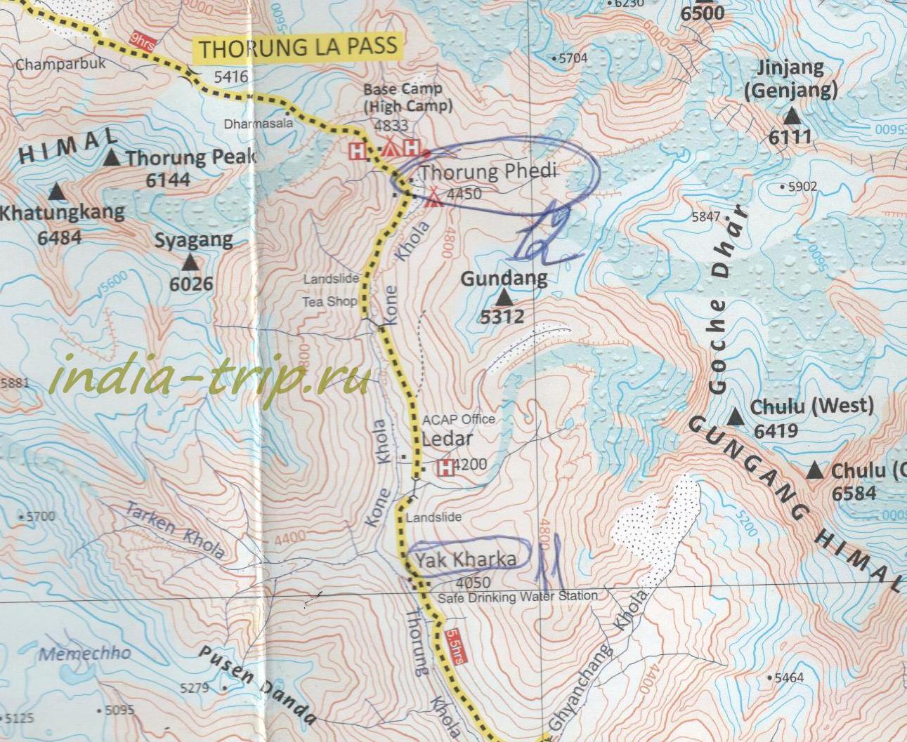 Карта 12-го дня трека вокруг Аннапурны