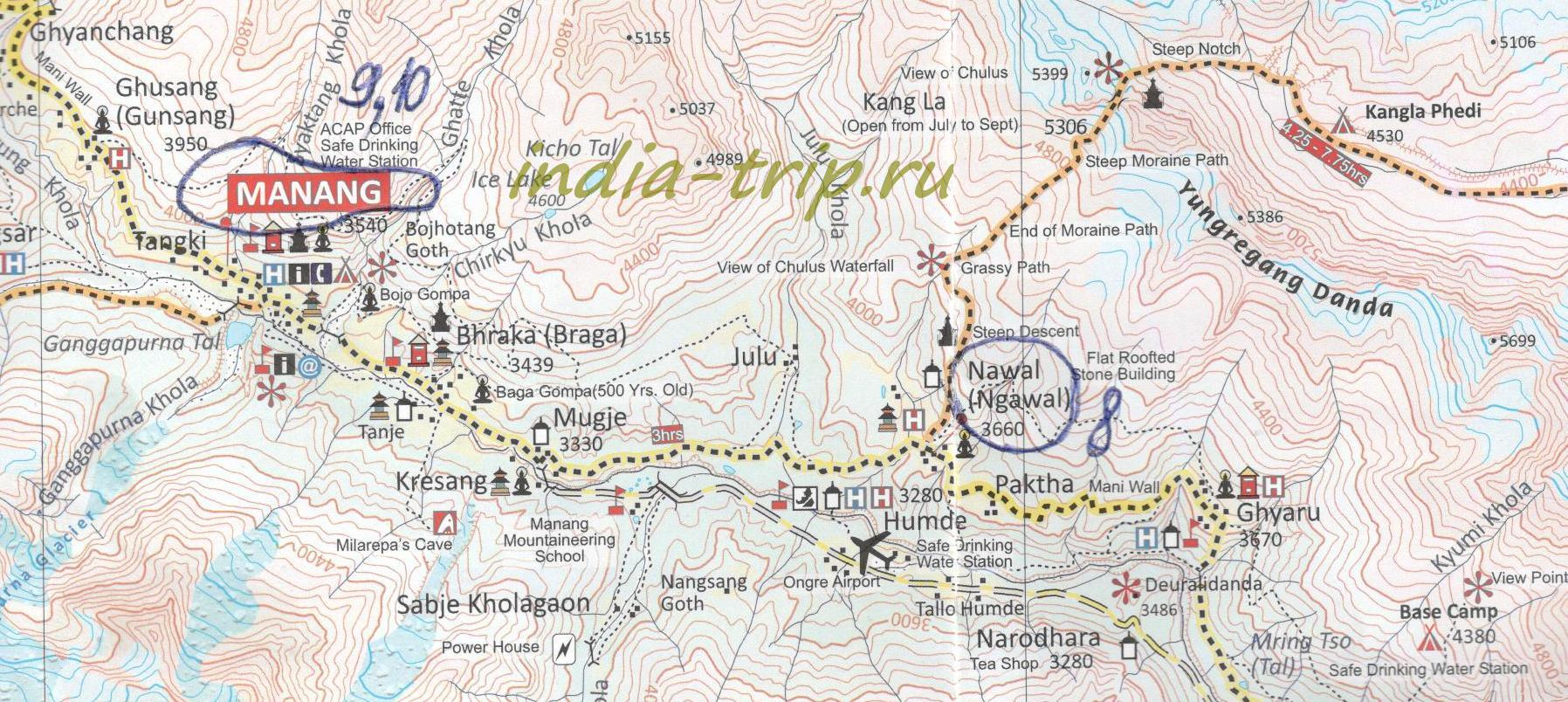 Карта трека вокруг Аннапурны