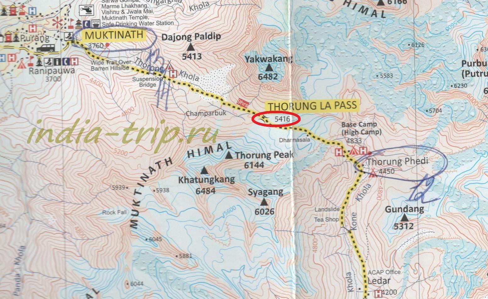 Трек вокруг Аннапурны, карта 13-го дня