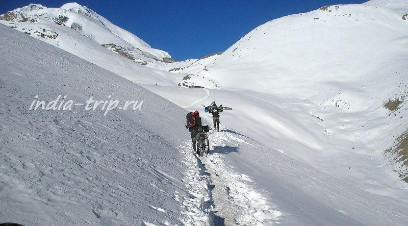 Велосипедисты на белом снегу