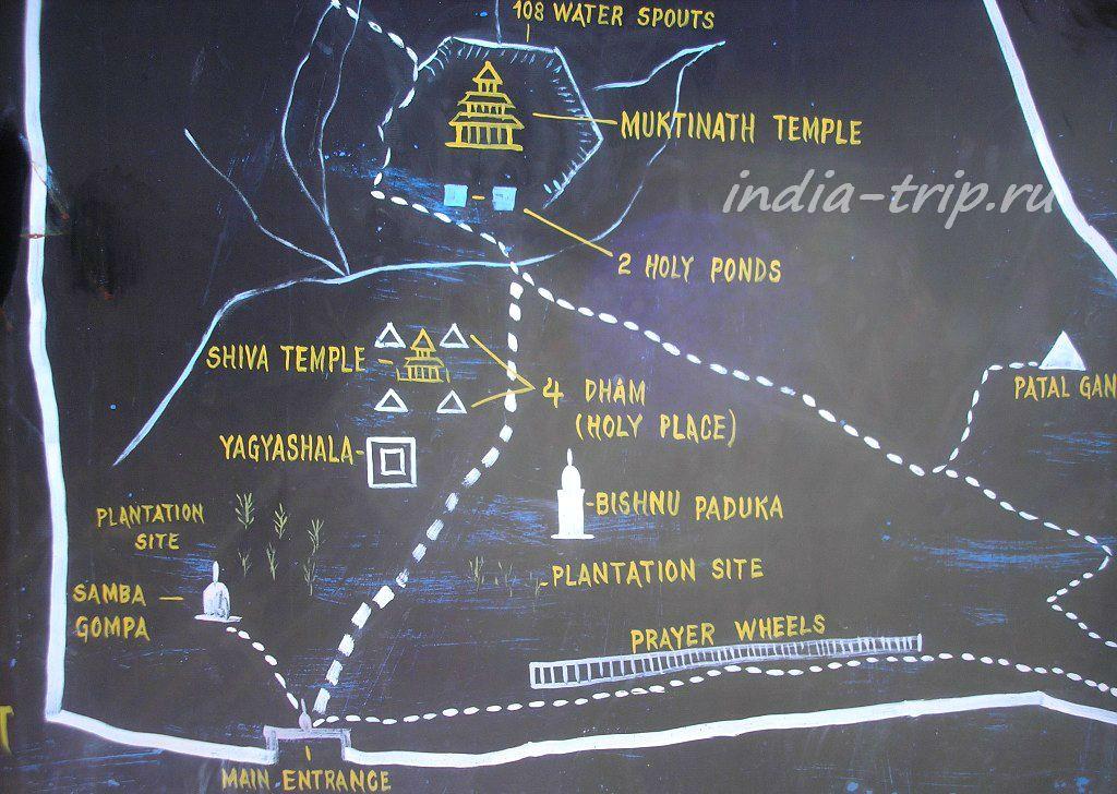 Муктинатх, карта
