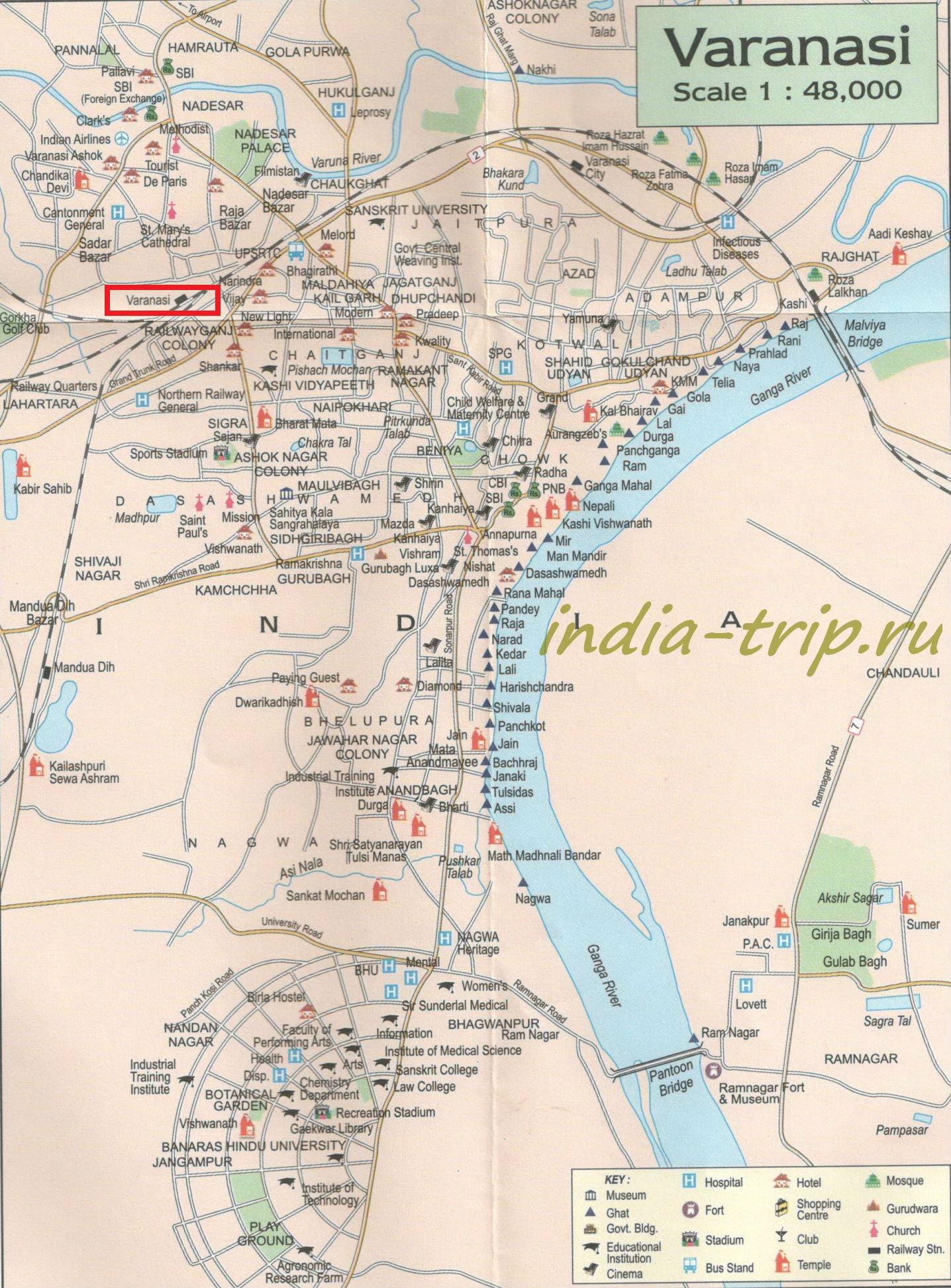 Карта города Варанаси