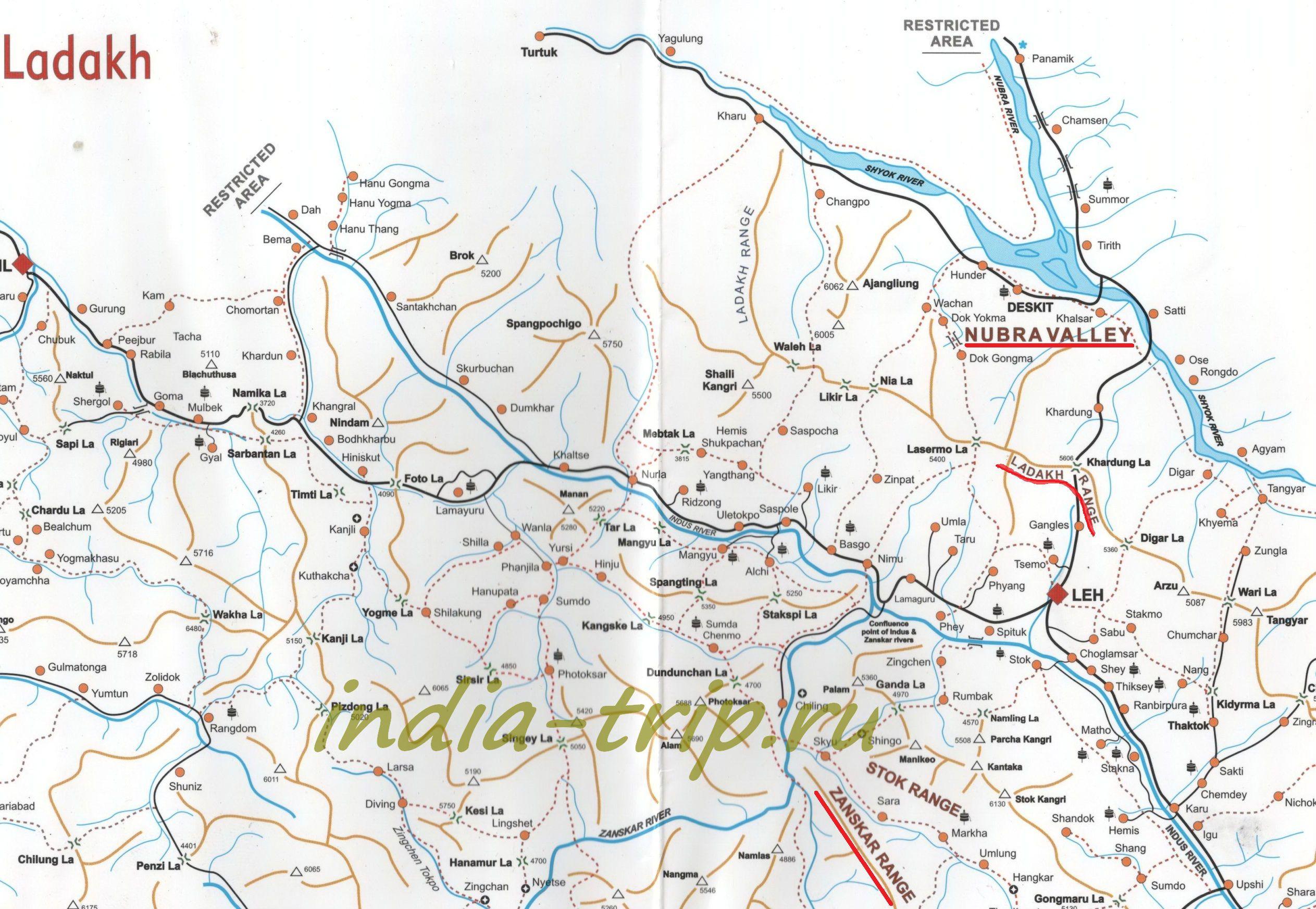 Карта Ладакха