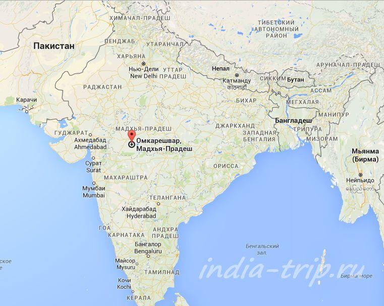 Карта Индии и Омкарешвар