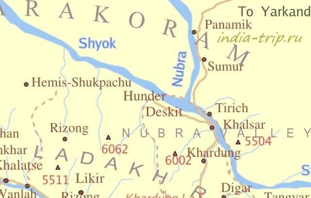 Карта долины Нубра