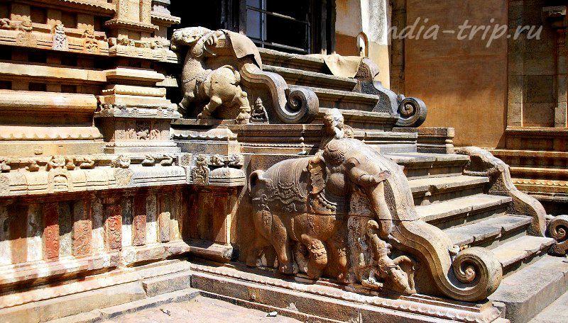 Каменные ступени и слоны