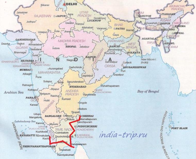 Карта Индии, юг
