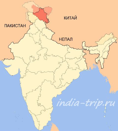 Ладакх на карте Индии